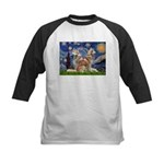 Starry Night Red Husky Pair Kids Baseball Jersey