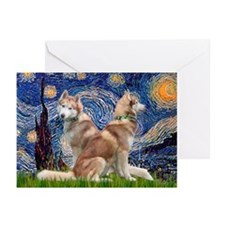Starry Night Red Husky Pair Greeting Cards (Pk of