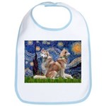 Starry Night Red Husky Pair Bib