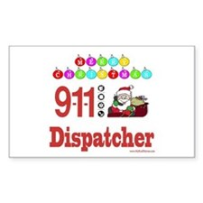 911 Dispatcher Christmas Gift Sticker (Rectangular