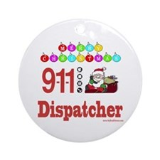 911 Dispatcher Christmas Gift Ornament (Round)