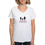 Parenting (red stars) Women's V-Neck T-Shirt