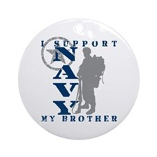 I Support Brother 2 - NAVY Ornament (Round)
