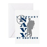 I Support Brother 2 - NAVY Greeting Cards (Pk of