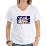 Full Moon Rabbits Women's V-Neck T-Shirt