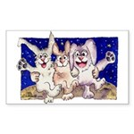 Full Moon Rabbits Rectangle Sticker
