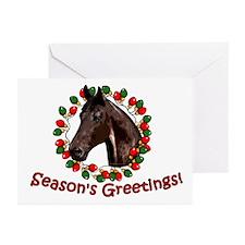 Christmas Lights Wreath Horse Greeting Cards (Pk o