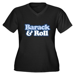 Barack and Roll Women's Plus Size V-Neck Dark T-Sh