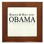 Barack and Roll with Obama Framed Tile
