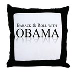 Barack and Roll with Obama Throw Pillow