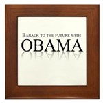Barack to the future with Obama Framed Tile