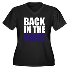 Back in the Game Women's Plus Size V-Neck Dark T-S