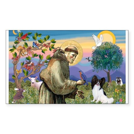 St Francis & Papillon Rectangle Sticker