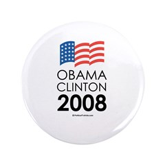 "Obama / Clinton 2008 3.5"" Button (100 pack)"
