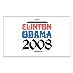Clinton / Obama 2008 Rectangle Sticker
