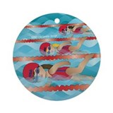 Little Swimmer Girls Ornament (Round)