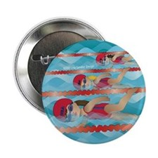 "Little Swimmer Girls 2.25"" Button"