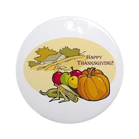 Happy Thanksgiving Ornament (Round)