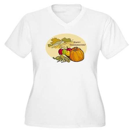 Happy Thanksgiving Women's Plus Size V-Neck T-Shir