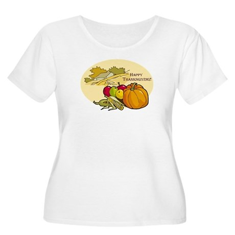 Happy Thanksgiving Women's Plus Size Scoop Neck T-
