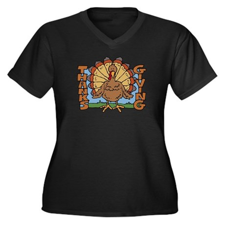 Thanksgiving Turkey Women's Plus Size V-Neck Dark