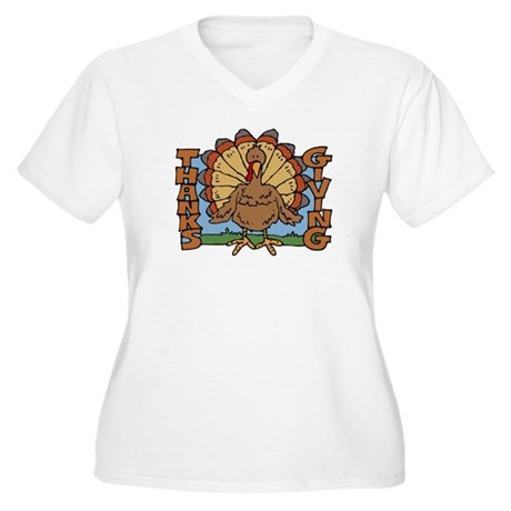 Thanksgiving Turkey Women's Plus Size V-Neck T-Shi