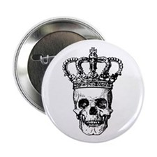 "Crowned Skull (black) 2.25"" Button (10 pack)"