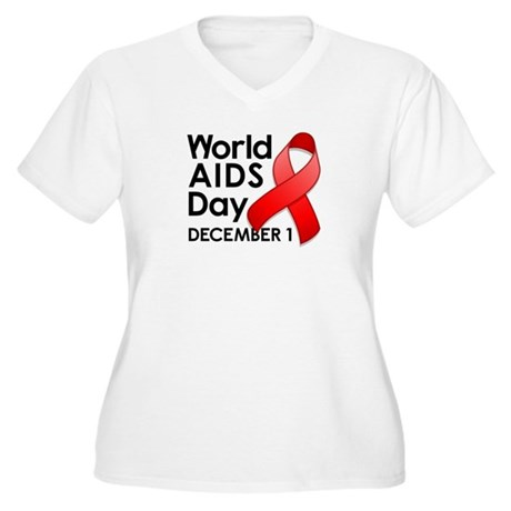 World AIDS Day Women's Plus Size V-Neck T-Shirt