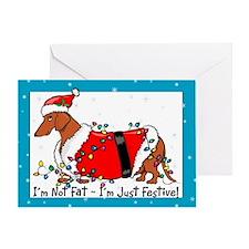 Fat Weiner Dog Santa Christmas Card