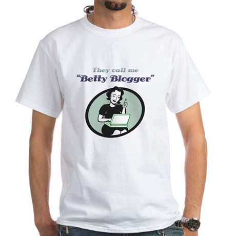 Betty Blogger Lady White T-Shirt