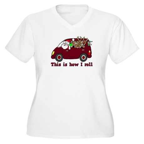 This is How I Roll Santa Women's Plus Size V-Neck