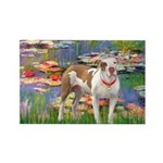 Lilies & Pitbull Rectangle Magnet (10 pack)