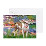 Lilies & Pitbull Greeting Card