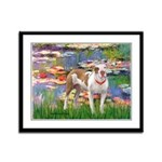 Lilies & Pitbull Framed Panel Print