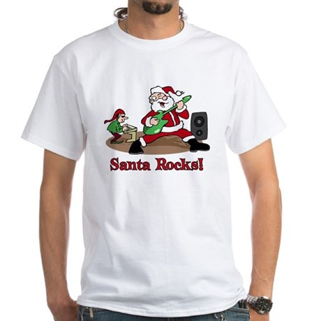 Santa Rocks White T-Shirt