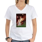 Seated Angel / Pitbull Women's V-Neck T-Shirt