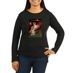 Seated Angel / Pitbull Women's Long Sleeve Dark T-