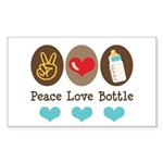 Peace Love Bottle Rectangle Sticker