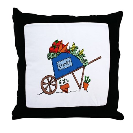 Garden Vegetable Cart Throw Pillow