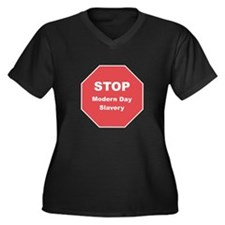 STOP Modern Day Slavery Women's Plus Size V-Neck D