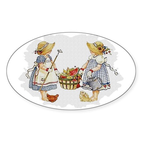 Girls Garden Oval Sticker