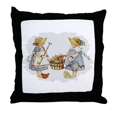 Girls Garden Throw Pillow
