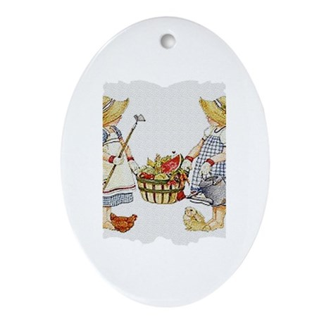 Girls Garden Oval Ornament
