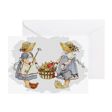 Girls Garden Greeting Card