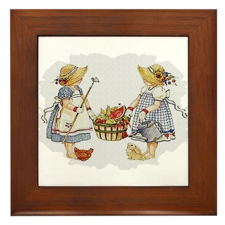 Girls Garden Framed Tile