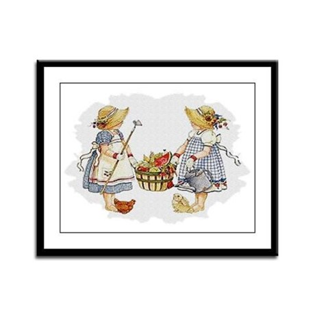 Girls Garden Framed Panel Print