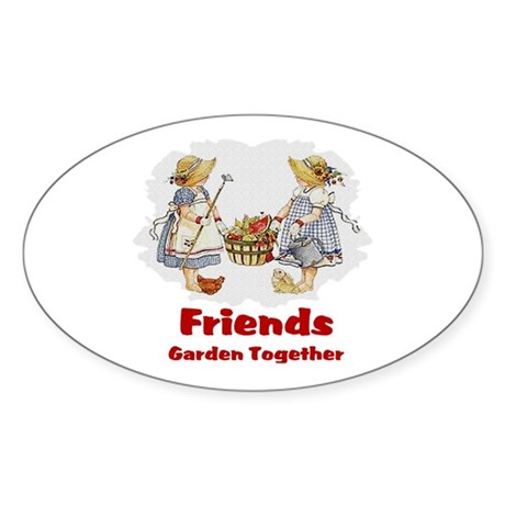 Friends Garden Together Oval Sticker