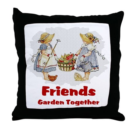 Friends Garden Together Throw Pillow