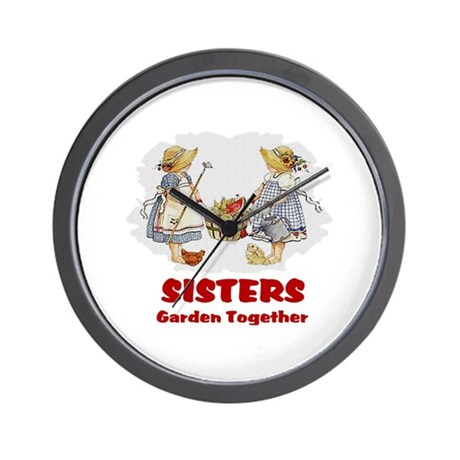 Sisters Garden Together Wall Clock