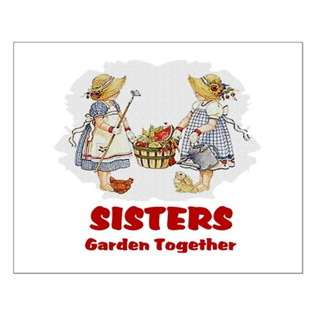 Sisters Garden Together Small Poster
